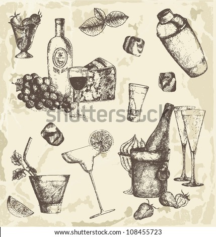 Hand drawn drinks collection - stock vector