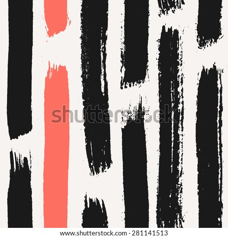 Hand drawn dry brush strokes seamless pattern. Black and coral red hand painted repeat texture. - stock vector
