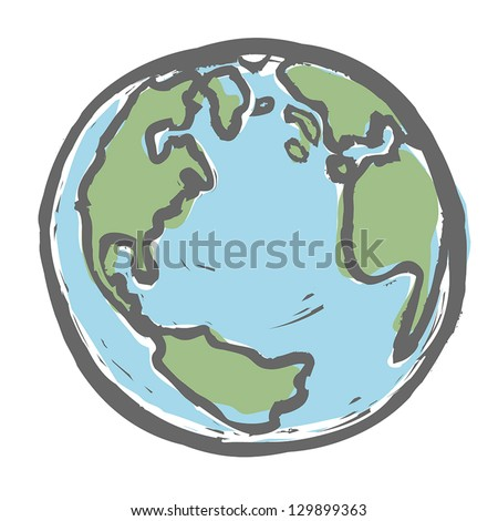 Hand drawn earth. Vector, EPS8 - stock vector