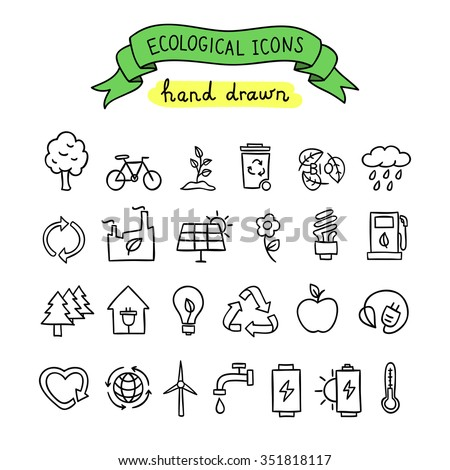 Hand drawn ecological icons. Healthy life, nature elements vector icons - stock vector