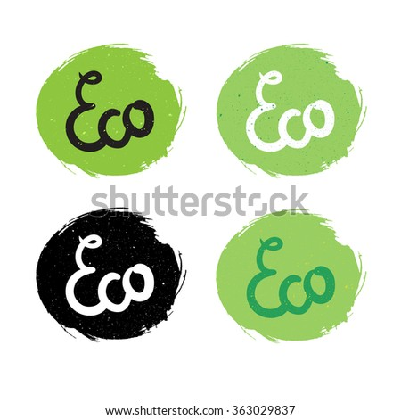 Hand drawn ecology and 100 percents natural lettering. Isolated grunge sticker or nature icon of quality for banner, web, card, print. Eco design. Vector - stock vector