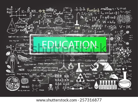 Hand drawn education on chalkboard. - stock vector