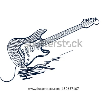 hand drawn electric guitar on white - stock vector