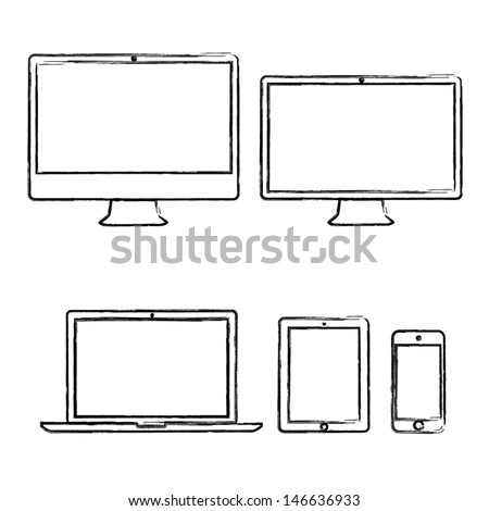Hand-drawn electronic devices vector illustration - stock vector