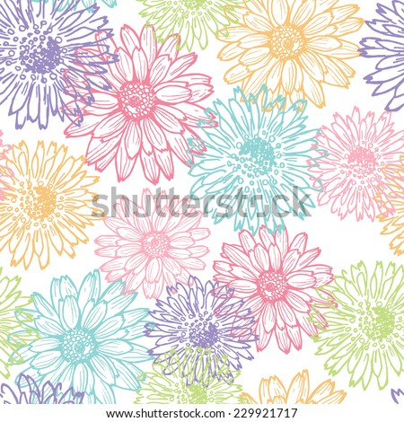 Hand drawn  elegance floral seamless pattern in pastel tones . All objects are conveniently grouped  and are easily editable. - stock vector