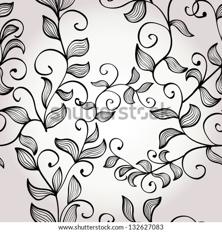 Hand drawn elegant floral background with branches. Eps10 - stock vector