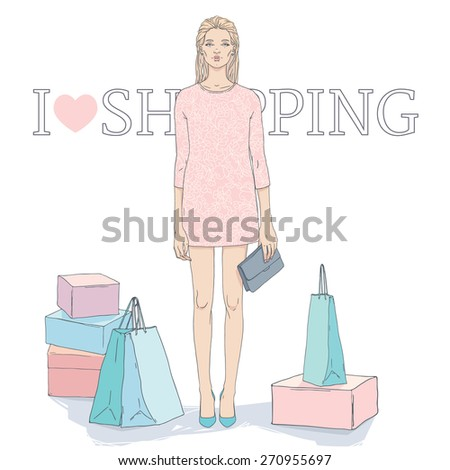 Hand drawn elegant woman dressed in a pink outfit with a floral pattern, holding the clutch, stand surrounded by shopping bags and boxes. Fashion and beauty illustration. - stock vector