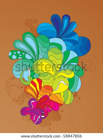 Hand drawn element. Screaming colors to attract attention to your design. - stock vector