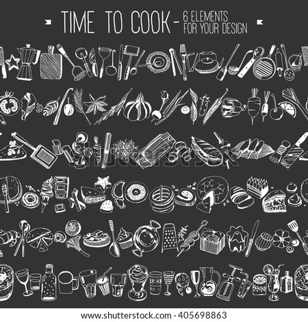 Hand drawn elements for cooking, vegetables, restaurant and vegetarian food. Seamless background. Vector illustration. Kitchen tools - stock vector
