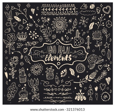 Hand Drawn Elements for your design. Isolated. - stock vector