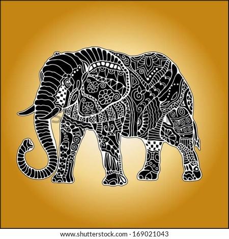 Elephant Hand Hand Drawn Elephant With