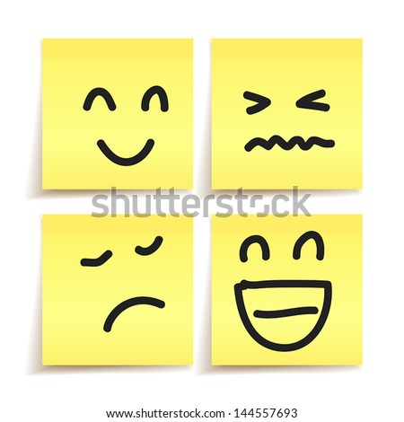 hand drawn emotion on paper stickers vector - stock vector