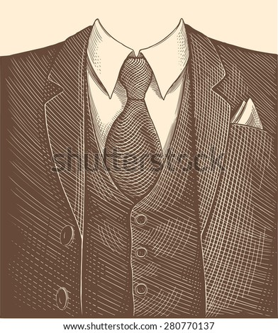Hand drawn engraving. Business suit .8 EPS - stock vector