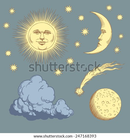 """Hand drawn engraving """" Heavenly bodies """" isolated on color background .8 EPS - stock vector"""