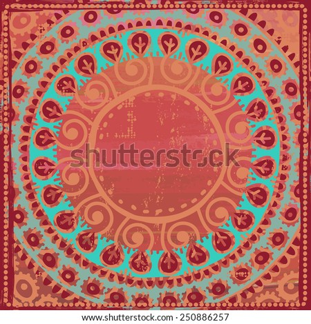 Hand drawn  ethnic frame in turquoise and coral red tones. All objects are conveniently grouped  and are easily editable. - stock vector
