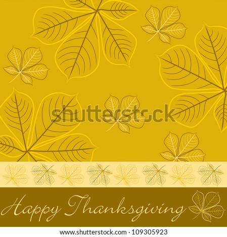 Hand drawn fall leaf Thanksgiving card in vector format. - stock vector