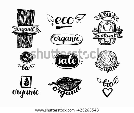 Hand-Drawn farm fresh logo set. Label collection of organic eco company, vegetarianets, bio labels. For vegan restaurant, vegan cafe menu, restaurant menu, organic shops, markets. Inc lettering - stock vector