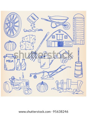 Hand Drawn Farm Icon Set         vector eps10 - stock vector