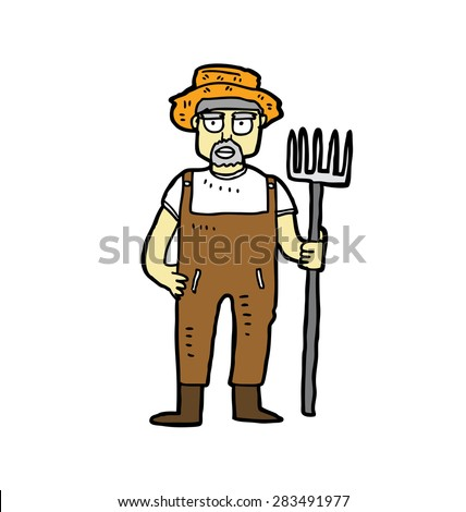 hand drawn farmer - stock vector