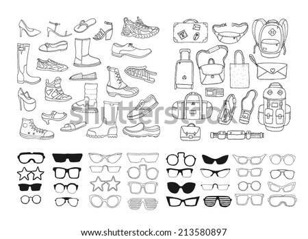 Hand drawn fashion collection. Shoes. Bags. Glasses. Vector. Isolated. - stock vector