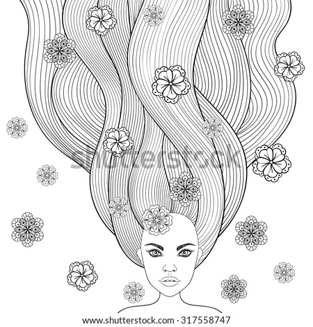Hand drawn fashion girl like forest fairy with long hair and flowers. adult Coloring Page with high details isolated on white background, illustration in zentangle style. Vector monochrome sketch. - stock vector