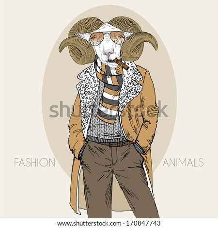 Hand drawn fashion illustration of dressed up mutton - stock vector