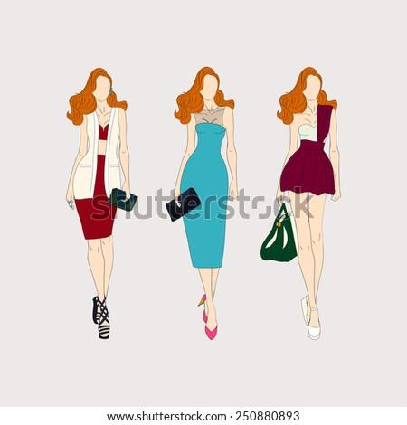 Hand drawn fashion models. - stock vector