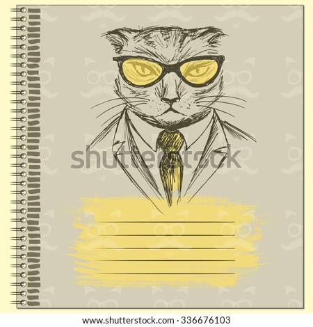 Hand Drawn Fashion Portrait of Cat Hipster on the cover of the notebook, vector illustration - stock vector