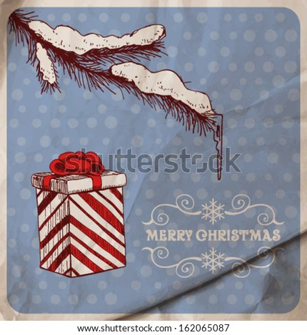 Hand-drawn fir branch covered with snow and icicle and gift on blue dotted  background with old wrinkled paper texture - stock vector