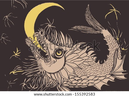 Hand drawn fish biting moon, hand drawn composition, vector image. - stock vector