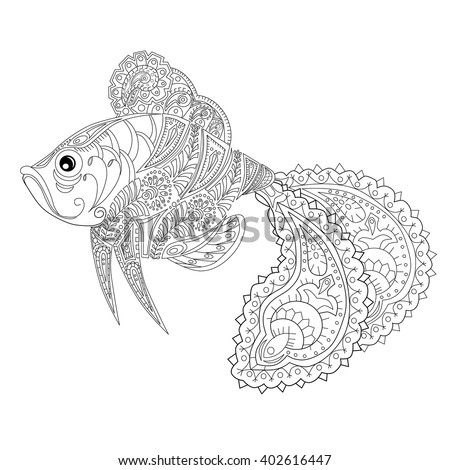Hand drawn fish stress Coloring Page with high details, isolated on background, illustration in zentangle style. - stock vector