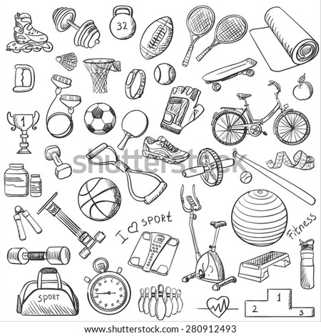 Hand drawn Fitness doodle set, excellent vector illustration, EPS 10 - stock vector