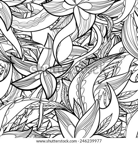 hand-drawn floral abstract seamless pattern, monochrome background. - stock vector