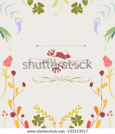 Hand Drawn Floral Frame Background - stock vector