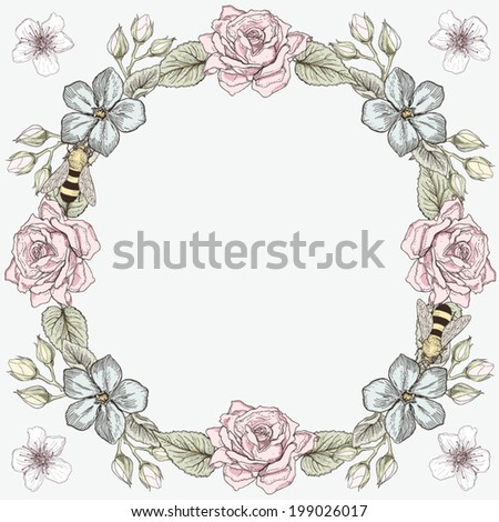 Hand drawn floral frame card. Colorful illustration. Vintage engraving style - stock vector