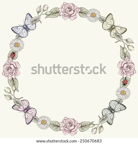 Hand drawn floral frame with butterflies. Ornate colorful illustration. Vintage engraving style - stock vector