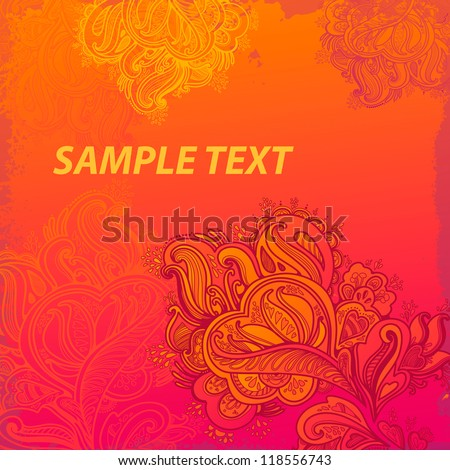 Hand Drawn floral vintage ornaments with flowers. vector orange background - stock vector