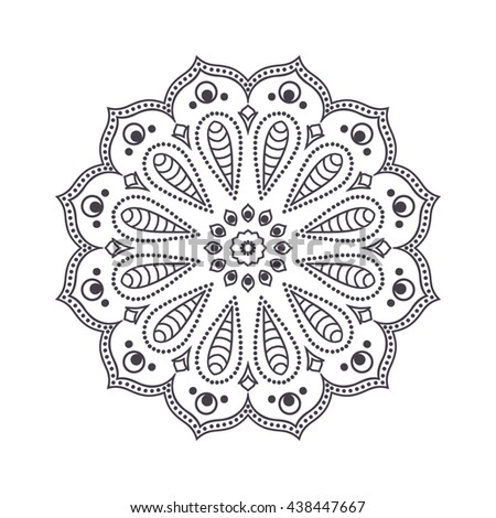 Hand drawn flower mandala for coloring book. Black and white ethnic henna pattern. Indian, asian, arabic, islamic, ottoman, moroccan motif. Vector illustration. - stock vector