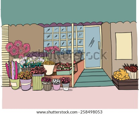 hand drawn flower shop vector  - stock vector
