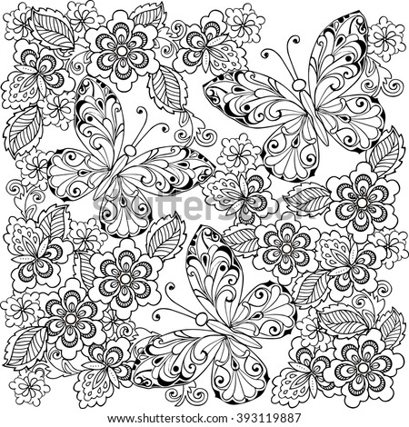 Hand drawn flowers and butterflies for the anti stress coloring page. - stock vector