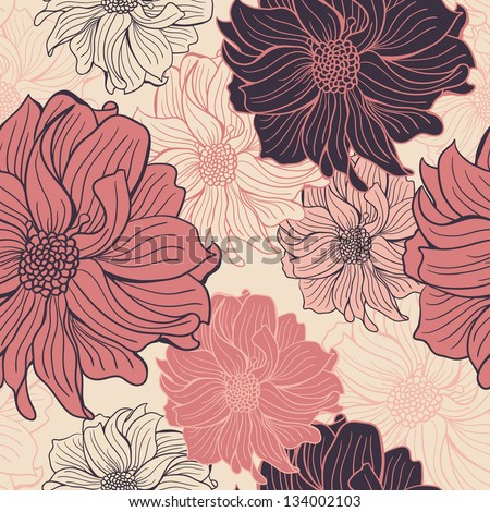 Hand-drawn flowers of dahlia. Seamless vector background. - stock vector