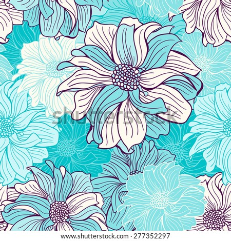Hand-drawn flowers of dahlia. Seamless vector background. Mint (turquoise) and deep purple colors. Vector illustration. - stock vector