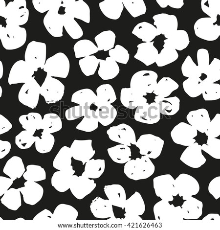 Hand drawn flowers seamless pattern - stock vector