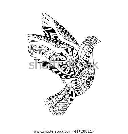 Hand drawn flying dove for adult anti stress colouring page. Pattern for coloring book. Ornamental floral Pigeon for Peace Day. Illustration in zentangle style. Monochrome variant. Ethnic pattern. - stock vector