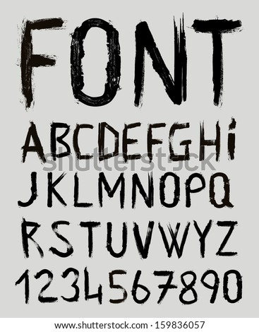 hand drawn font alphabet in vector format - stock vector