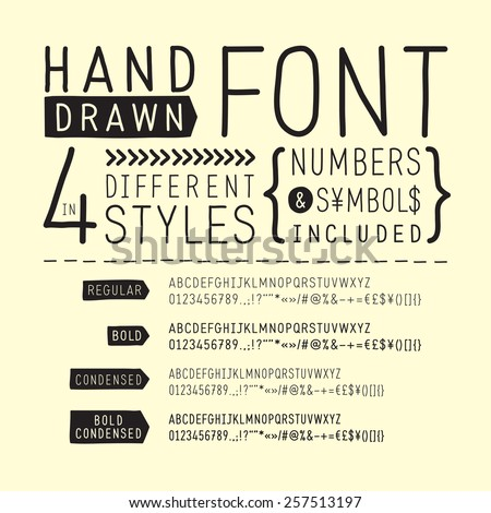 Hand drawn font / handwritten alphabet  - vector illustration - stock vector