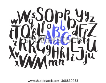 Hand drawn font. Lettering alphabet. Vector Hand made ink font. Letters of the alphabet written with a brush. Trendy hand drawing alphabet. Vector illustration. Hand drawn letters - stock vector