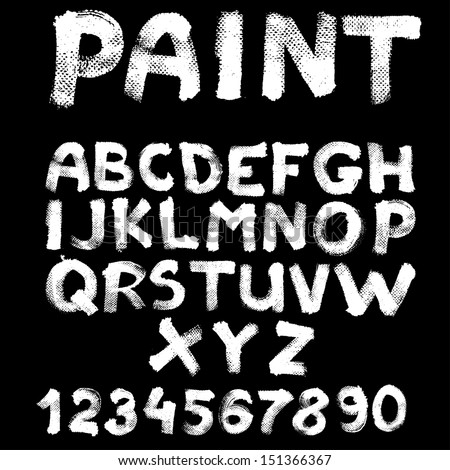 Hand-drawn font on textured paper with paint strokes on black background - stock vector