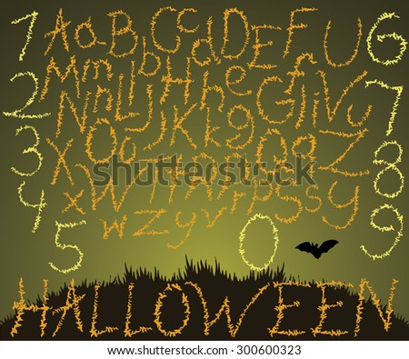 Hand drawn font, vector illustration of calligraphic letters for halloween made with flying bats. - stock vector
