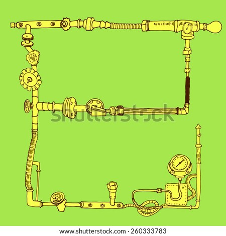 Hand-drawn frame decorative style steam punk, vector illustration, bright color - stock vector